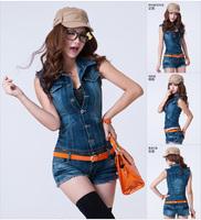 2013 summer denim jumpsuit one piece shorts female vest jumpsuit short trousers