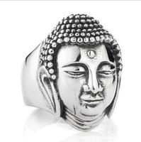Free shipping sakyamuni Buddha head 316L stainless steel ring for men