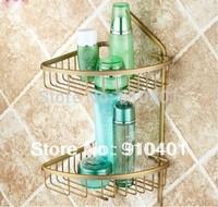 NEW Free Shipping Antique Brass Bathroom Vanity Shelfs Double Baskets Shelf Cosmetic Storage Holder Racks Bathroom Accessaries