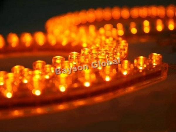 Free Shipping 24cm Car PVC Strip Amber LED Flexible Light Bar @15801(China (Mainland))
