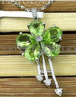 Free shipping Charms pendant Real and natural peridot 925 sterling silver plated 18k white gold For women or girl jewels