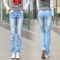 free shipping Summer straight jeans female light color straight hole female jeans pants