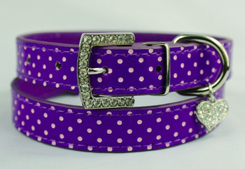 Purple PU Leather Cute Polka Dot Dog Puppy Collar with Rhinestone Heart Charms Top quality Free shipping