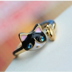 At Least $8 Good value for money Factory 2013 New Style Super Cute Cat and Fish Ring R025(China (Mainland))