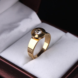 Round zircon CZ 18K gold plated 316L Stainless Steel rings women jewelry size 7 8 9 10 11 free shipping wholesale lots(China (Mainland))