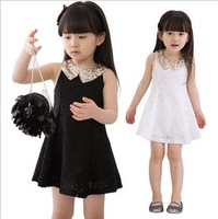 5pcs/lot new 2014 children girls fashion bling collar sleeveless lace dress summer clothing ZZ0438