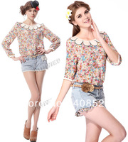 Women's Jeans Denim Shorts + Flower Half Sleeve Petals Collar Shirt Floral Blouse Tops free shipping 5353 10842