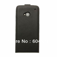 Free shipping By Fedex/DHL Real leather case for HTC ONE  M7  black color