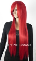 Hot Sale Fashionable Costume Hairstyle Long Silky Straight about 20Inches Shining Red Wig 10pcs/lot Free shipping
