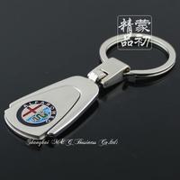free shipping 50pcs car key Key chain Parallel-chord alloy car alfa romeo emblem keychain key ring key chain