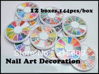 Best Selling!12Boxes=12Wheels/Lot Mixed Polymer Clay Slices Nail Art Decoration Fimo 3D Nail Sticker Free shipping