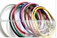 mix colour leather cord bracelet fit charm bead 17cm FREE SHIPPING wholesale