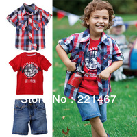 retail, little boy casual style short sleeve plaid outwear +T-shirt+denim pants 3pcs/set ,baby suits ,boy clothing BC10