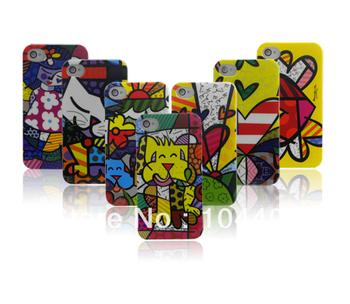 10pcs/Lot New Illustration graffiti Cartoon Fish Heart girl boy Fashion Hard plastic case for iphone 4 4G 4S + free shipping