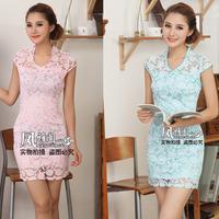2013 spring and summer cheongsam fashion elegant u lace short qipao dress sweet one-piece dress