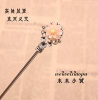 45 hanfu cheongsam classical antique silver houaphan hair stick water pink