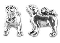 free ship 10pcs a lot  fashion alloy  3D pug  charm  pendants jewelry