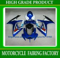 Custom blue/white/black plastic bicycle parts 06 07 GSXR600/750 fiberglass fairing kit GSX R600 R750 2006 2007 SUZUKI K6