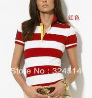 Free Shipping Strip Polo T- Shirt For Women,Women's Short Sleeve Polo Shirt 100% Cotton ,Strip close-fitting Polo Shirt