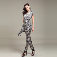 Women's New Arrive Fashion Spring Serpentine Pattern Ruffle Short Sleeve Chiffon Bodysuit Female Trousers Jumpsuit