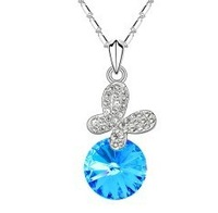 Min. order $10 Promotions Austria crystal jewelry fashion butterfly crystal pendant charm necklace Free Shipping HeHuanXL186