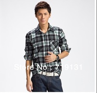 Big discounts! 2013 men fashion autumn high quality flannel brushed double pocket Plaid Shirt 20 colors 7 sizes Free Shipping