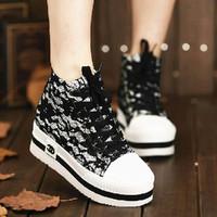 2013 spring platform lace paltform high canvas shoes female shoes casual fashion shoes