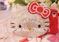 Free Shipping(10pcs/lot) wholesale 100% handmade 3D Kitty crystal cellphone case