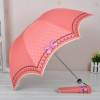 Bow dots elargol coating princess umbrella sun-shading dual