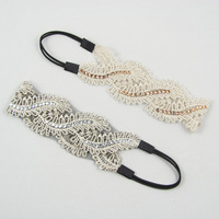 Free shipping (12 pieces/lot) hair band leaves lace decoration wide ribbon diamond elastic headband hair bands