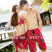 Lovers design split swimwear push up big small piece bikini set swimming trunks spa  2159