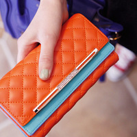 Pear doll wallet female candy color block plaid long design women's flip wallet women's wallet q123