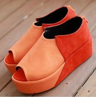 2013 all-match fashion casual open toe platform color block decoration wedges sandals gladiator platform style zipper women&#39;s