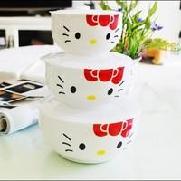 free shipping microwave oven hello kitty hellokitty kt bone china fresh bowl piece set dinnerware set red