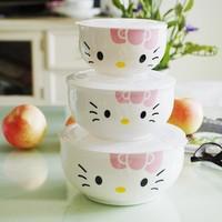 Free shipping Plastic bowl piece set ceramic storage box hellokitty bone china fresh bowl microwave birthday gift