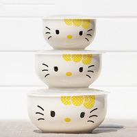 Free shipping Hello kitty hellokitty kt cat guzhici plastic bowl piece set dinnerware bowl set