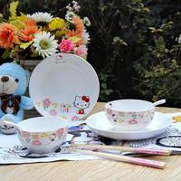 Free shipping Tableware jingdezhen bone china tableware child tableware 8 piece set hellokitty ceramic dinnerware set