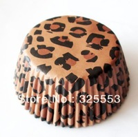 100pcs brown leopard party time cupcake baking cups cake decorations