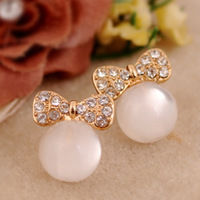Fashion cat's eye stone full rhinestone bow stud earring for women free shipping