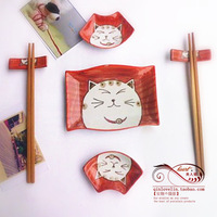 Free shipping Porcelain square plate cartoon cat tableware irregular 7 piece set gift set