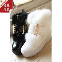 Slip-resistant platform japanned leather rabbit fur autumn and winter snow boots fashion female shoes velcro 2012