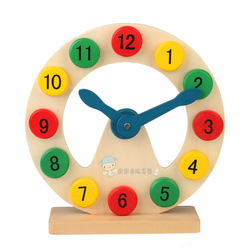Wooden baby infant boy shape digital clock building blocks clock toy hollow clock(China (Mainland))