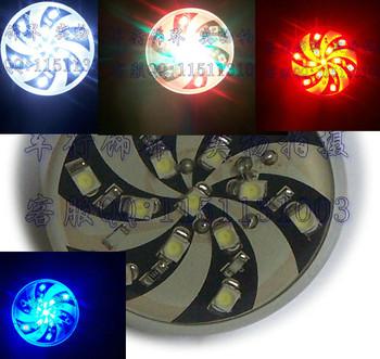 Rotating 12v single round 13led card brake lights motorcycle general led brake light bulb red blue white multicolour