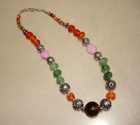 Fashion jewelry tibetan colorful agate stone ball necklaces