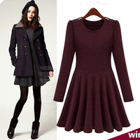 2013 spring brief high quality slim all-match long-sleeve basic one-piece dress fashion dresses women 2013