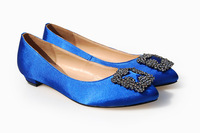 2013 Spring Brand ladies Pointed Toe rhinestone crystal wedding Beige Black Blue women Flat satin shoes size 34-42