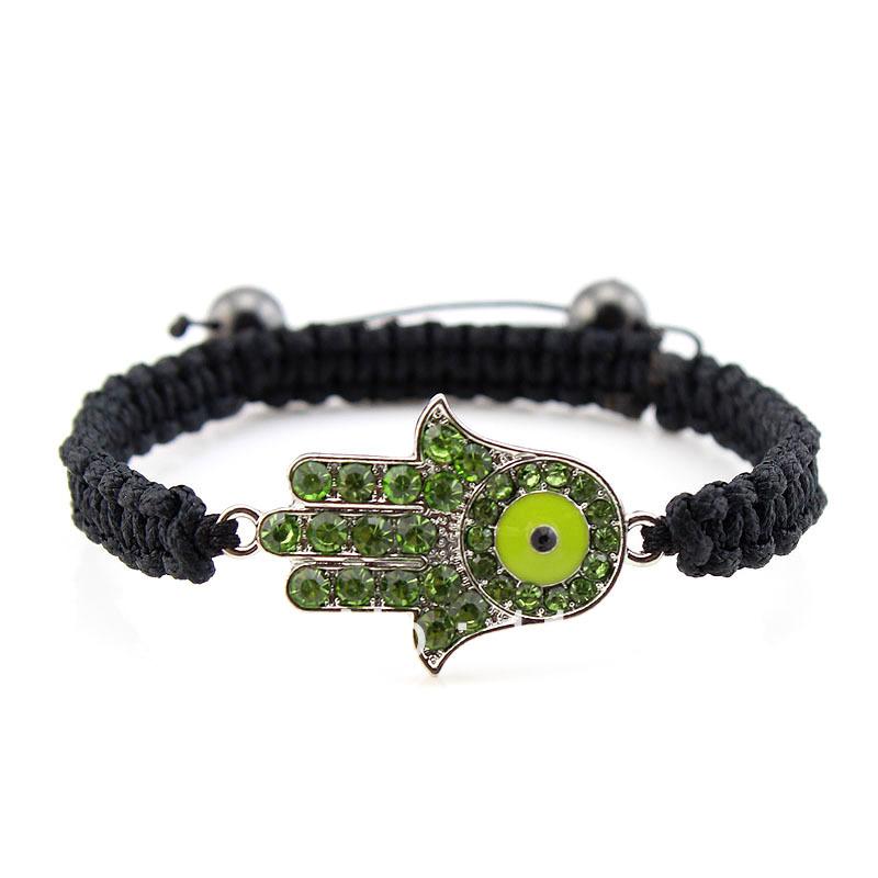 Min. Order $10 SN90102 Hot Sale Shamballa Bracelet Hamsa Hand Bracelet Crystal Hand 8 colors(China (Mainland))