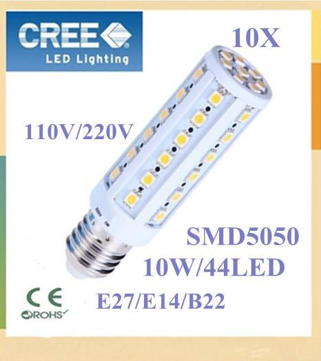 10pcs Super brightness 10W E27 E14 B22 SMD 5050 44 LED Screw Corn Light 880lm 360 degree lighting angle led bulb FREE SHIPPING