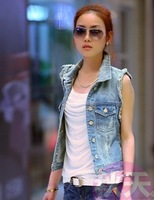 Water wash 401 distrressed 2014 autumn personality cardigan women's denim vest