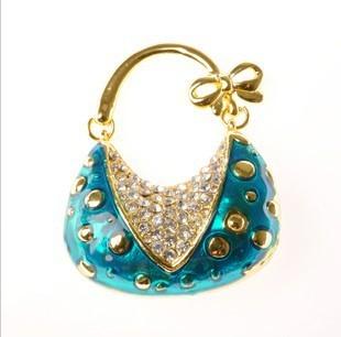 S75 Wholesale and retail fashion crystal  V blue  handbag model usb 2.0 memory stick pen thunb drive free shipping
